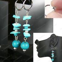 CLIP ON boho BEAD DROP EARRINGS aqua teal BLUE silver tone 6cm long CLIPS