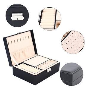 Schmuck Uhren Box Aufbewahrungsbox Halskette Ring Doppelschicht Aufbewahrung DHL