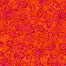 Michael Miller Floral Fling Batik in Sorbet - Hot Pink Flowers/Leaves on Orange