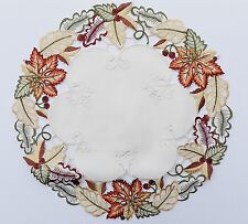 """MMM  Fall Leaf  Embroidered Doily -  7"""" Round     **FREE SHIPPING**"""