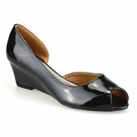 Ladies Womens Mid Wedge Heel Peep Toe Smart Work Pumps Party Court Shoes Size