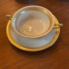 "Rosenthal Ivory Bavaria 4 ea. Gold Trim 7"" Saucer Plate, Cream Soup Bowls Handle"