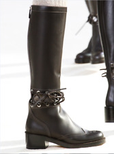 CHANEL 'RUNWAY' BLACK LEATHER RIDING BIKER CC LOGO WOMEN TALL BOOTS EU 40 US 10
