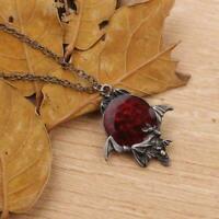 Red Crystal Vampire Gothic Fledermaus Anhänger Halloween Halskette S5L8 Sch T3N4