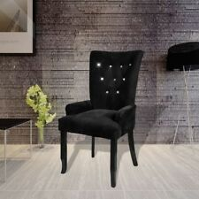 luxury high back dining chair tufted velvet black accent armchair vintage home