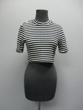 TOPSHOP Black Striped Short Sleeves Casual Mock Neck Crop Blouse Top Sz 6 DD1297