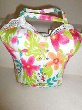 """Hippie"" Flower BRA Shaped Corset Bustier Handbag Purse w/Rhinestone & lace trim"