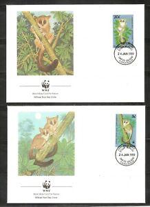 Tanzania SC # 468-471 Endangered Species - BushBabies - FDC. WWF  Covers