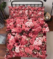 3D Red Flowers 1 Bed Pillowcases Quilt Duvet Cover Set Single Queen King Size AU