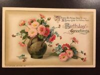 Vintage 1915 Postcard Embossed Birthday By John Winsch Made in Germany