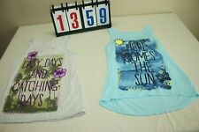 Justice Girls yout Teen Sz 16 Beach Summer Tank Tops Set Lot 2 Graphic