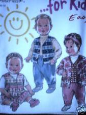 Vintage NEW LOOK SEWING Pattern 6458 Baby Infant Dress Jacket NB S M L FF OOP