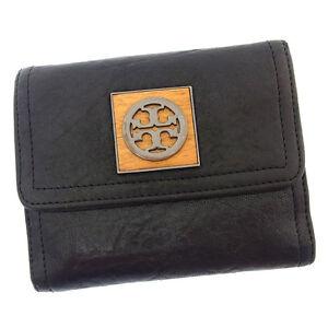 Tory Burch Wallet Purse Folding wallet Black Beige Woman Authentic Used Y2698