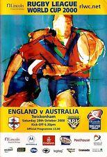 England V AUSTRALIA - 2000-COPPA DEL MONDO *** Plus Match Ticket ***
