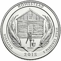 2015 D Homestead Nebraska America the Beautiful BU Quarter from US Mint Roll