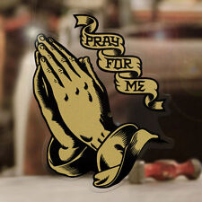 """Praying Hands sticker decal pray for me skate holy hot rod aircooled gold 3.5"""""""
