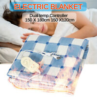 Electric Blanket Heated Warm Fitted Washable Polyester Underlay Contro 5@%