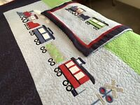 Child's Coverlet Blue Green And Red With Trains And Pillow Sham