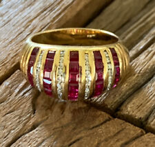 Women's 18k Yellow Gold Diamond Band Dome Cocktail Ring W/ Ruby