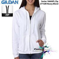 Gildan White Zip Up Hoodie Basic Hooded Sweatshirt Sweater Female Ladies