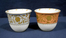 "2 Vtg Antique Royal Vienna Porcelain Liners for Demitasse Beehive Mark 2""x2-3/8"""