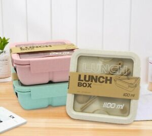 Partition Lunch Box Spoon Chopstick Dinnerware Microwave Food Storage Container