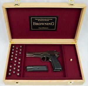 PISTOL GUN PRESENTATION CUSTOM DISPLAY CASE BOX for BROWNING HI POWER HP 1 type