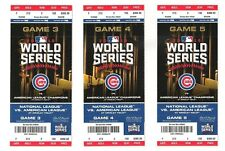 2016 WORLD SERIES Chicago Cubs Cleveland Indians Game 3 4 5 Wrigley Ticket Stub