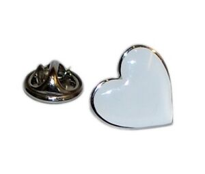 White Heart Lapel Pin - Love Heart Lapel Pin Badge Brooch