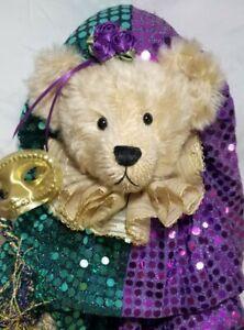 "Fran Silver ""Emerald"" Mardi Gras artist teddy bear sequins mohair mask 18"""
