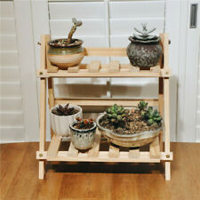 2Tier Wooden Shelves Flower Pot Plant Stand Display  Patio Potted Rack 13.78in
