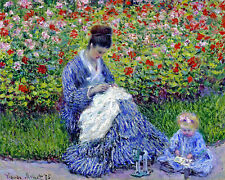 Claude Monet Camille Monet and a Child Impressionism Fine Art Canvas Print New