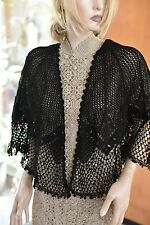 Vintage All Hand Made Crochet Cotton Crochet Jacket Black Fit S to L by Lim's