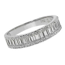 925 SILVER SIMULATED DIAMOND BAGUETTE CUT 5mm BAND ETERNITY WEDDING  RING SIZE O