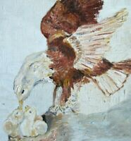 Vintage Original Oil Painting Country Folk Art Primitive Bald Eagle Portrait