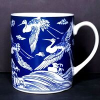 Asian Blue Coffee Mug White Cranes Flying Over Hills Unsigned Japan? Gift Idea