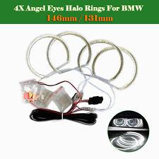 4x 146mm / 131mm Car LED SMD Angel Eyes Halo Rings Head Light Error Free For BMW