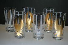 VINTAGE SET OF (6) GOLD GILD EAGLE HIGHBALL GLASSES WITH FROSTED STRIPES & STARS