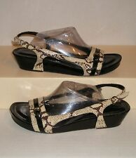 CIRCA by JOAN & DAVID Women's QUINTA Snake-Print Leather Wedge Sandals 8.5 M NEW