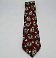 """Oscar De La Renta Men's Neck Tie Maroon w/Brown & Tan Geometric Pattern Silk 55"""""""