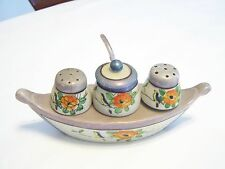 "vintage condiment salt and pepper shakers boat with spoon Japan 7 1/2"" long"