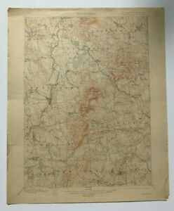 Antique 1914 Geological Survey Topographic Map NH Peterborough Temple & Others