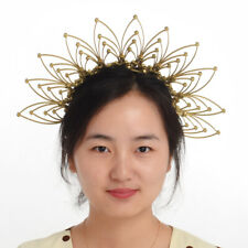 Party Gold Floral Headband Bridal Crown Wedding Headdress Costume Headpiece