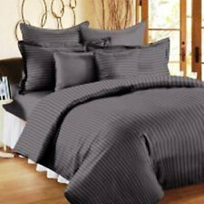100% Cotton Double Bedsheet with 2 Pillow Covers Grey Satin Striped Bedsheet