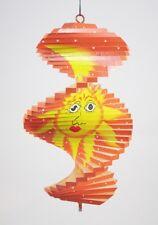 Spirale à vent en bois soleil et lune Orange - 20x12 - Mobile - carillon