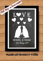 Personalised chalkboard Penguin couple love A4 print gift Anniversary valentines