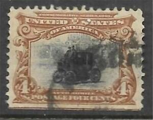 1v0211 Scott 296 US Stamp 1901 4c Automobile Used