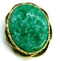 Vintage Gold Tone Green Stone Center Oval Brooch / Pin