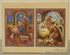 "New Lang Christmas Cards ""Manger"" Religious Mary Joseph & Babe Three Shepherds"