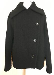 Max Mara Collection £1000 Black Wool Jacket Coat Large US 14 UK16